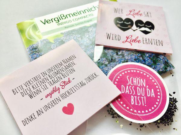 Gastgeschenk Hochzeit Blumensamen, Tüten, Karten und Aufkleber
