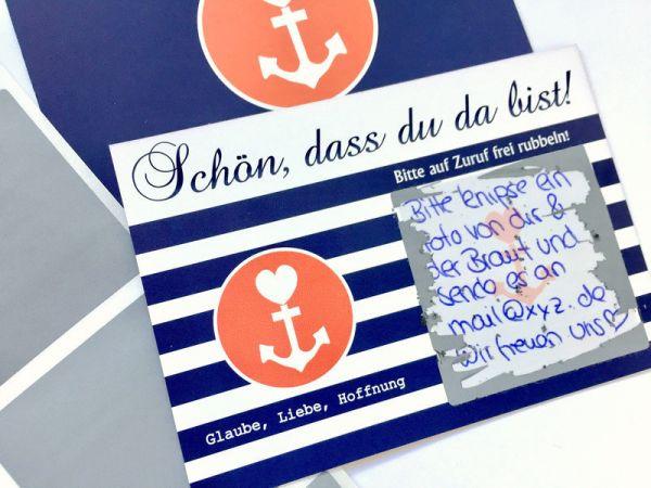 Gastgeschenk Hochzeit - Rubbelkarten Glaube Liebe