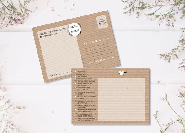 52 Karten Hochzeitsspiel   Postkartenspiel   Kraftpapieroptik