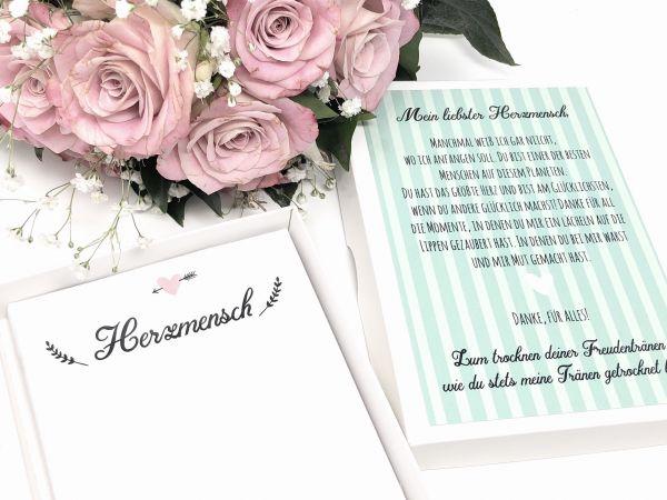 """Hochzeit Taschentuch für Freudentränen """"Herzmensch"""" Stofftaschentuch"""