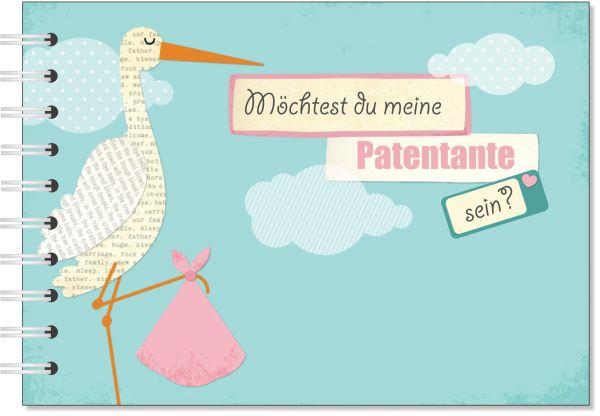 Geschenk für die Patentante - Willst du meine Patentante sein? Geschenkbuch Storch rosa
