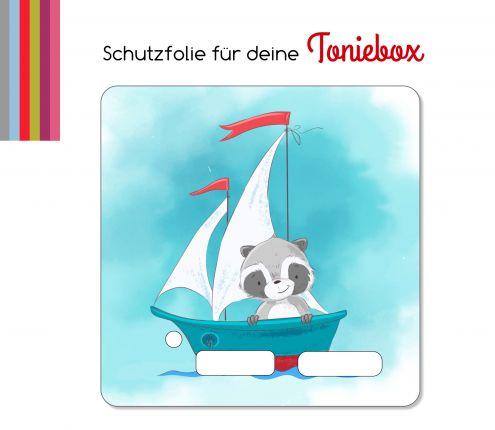 Schutzfolie passend für Toniebox, Segelschiff Waschbär