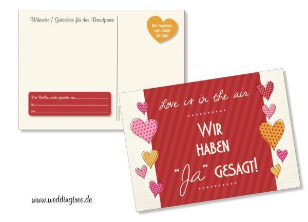 """50 Ballonflugkarten zur Hochzeit """"Ja-Sager"""""""
