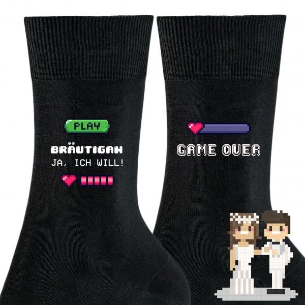 """Hochzeit Geschenk Socken """"Game over"""" für den Bräutigam!"""