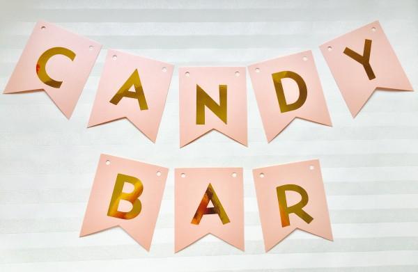 Hochzeitsgirlande - Wimpelkette - Candybar Rosa Gold