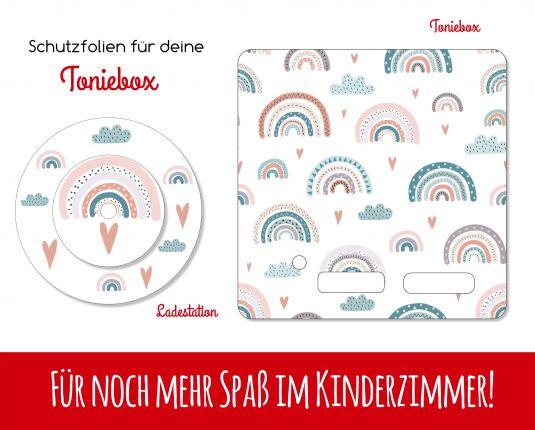 Ladestationsticker und Schutzfolie passend für Toniebox - Regenbogen