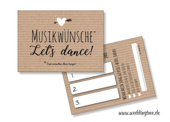 Musikwunschkarten für die Hochzeit | Kraftpapieroptik