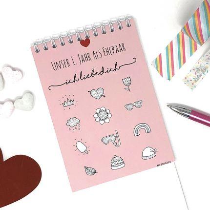 Rubbelkalender mit persönlicher Botschaft - Geschenk zur Hochzeit Braut - Bräutigam